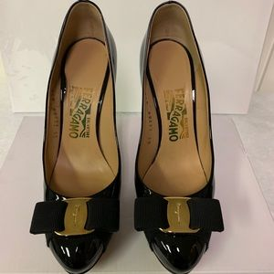 Authentic Salvadore Ferragamo Black patent Heels